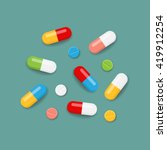 pills icons in various colors.... | Shutterstock .eps vector #419912254