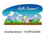 hello summer vector landscape... | Shutterstock .eps vector #419915644