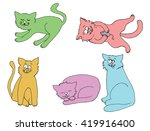 collection of cats. cartoon... | Shutterstock .eps vector #419916400