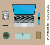 infographics   office desktop... | Shutterstock .eps vector #419935189