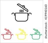 web line icon. pan  saucepan   Shutterstock .eps vector #419940160