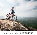 young lady with bicycle... | Shutterstock . vector #419943658