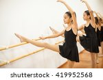 cute girl in a leotard and...   Shutterstock . vector #419952568