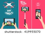 couple making selfie with drone ... | Shutterstock .eps vector #419955070