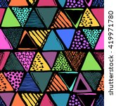 colorful triangles print  ... | Shutterstock .eps vector #419971780