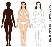 woman body shape  outline and... | Shutterstock .eps vector #419973940