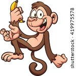 happy cartoon monkey holding a... | Shutterstock .eps vector #419975578