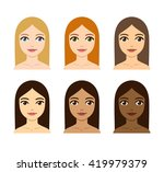 young women with different skin ... | Shutterstock . vector #419979379
