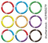 circle  ring. set of 9 colorful ... | Shutterstock . vector #419985079