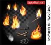 realistic fire flames set.... | Shutterstock .eps vector #419991814