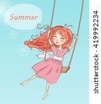 beautiful  nice  cute red... | Shutterstock .eps vector #419992234