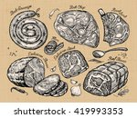 meat. set sketch food. vector... | Shutterstock .eps vector #419993353