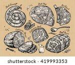 meat. set sketch food. vector... | Shutterstock .eps vector #419993353