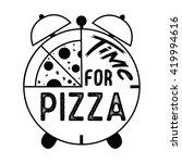 time for pizza vector art... | Shutterstock .eps vector #419994616