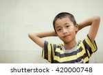 close up portrait of asian boy  ... | Shutterstock . vector #420000748