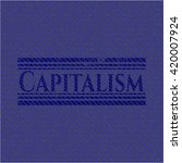 capitalism emblem with jean... | Shutterstock .eps vector #420007924