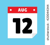 calendar icon flat august 12