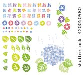 Flowers And Leaves In Stamp...