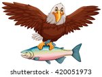 eagle flying with fish in claws ... | Shutterstock .eps vector #420051973