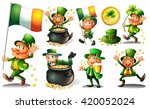 leprechaun and gold in pot... | Shutterstock .eps vector #420052024