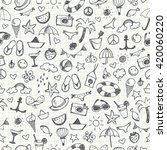 hand drawn summer doodles.... | Shutterstock .eps vector #420060220
