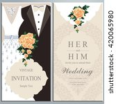 wedding invitation card  bride... | Shutterstock .eps vector #420065980