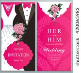 wedding invitation card  bride... | Shutterstock .eps vector #420065983