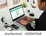 young african businesswoman... | Shutterstock . vector #420069268