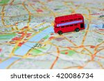 model of a red bus on top of... | Shutterstock . vector #420086734