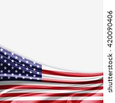 america flag of silk with... | Shutterstock . vector #420090406