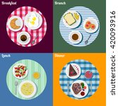 set of breakfast  lunch  brunch ... | Shutterstock .eps vector #420093916