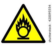 oxidant material warning sign   ... | Shutterstock .eps vector #420095554