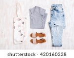 grey t shirt  light blue ripped ... | Shutterstock . vector #420160228