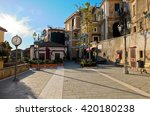 Small photo of 17 november 2013-castellabate-italy-Overview of the main square of castellabate in Cilento