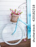 old bicycle with flowers... | Shutterstock . vector #420182518