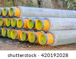 seamless oil pipe wraping cement | Shutterstock . vector #420192028