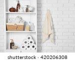 bathroom set with towels ... | Shutterstock . vector #420206308