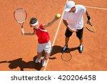 junior tennis player practicing ... | Shutterstock . vector #420206458