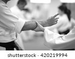 Small photo of Hand grab defense; mid section of martial artists