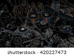 a lot of different auto spare... | Shutterstock . vector #420227473