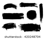 set of black paint  ink brush... | Shutterstock .eps vector #420248704