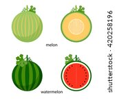 watermelon and melon and their ... | Shutterstock .eps vector #420258196