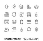 Simple Set of Beer Related Vector Line Icons.  Contains such Icons as Barrel, Six-pack, Keg, Signboard, Mug, and more.  Editable Stroke. 48x48 Pixel Perfect.  | Shutterstock vector #420268804