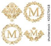 golden letter m vintage... | Shutterstock .eps vector #420270418