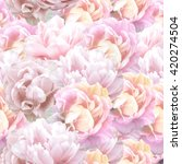 peony flowers seamless pattern. | Shutterstock . vector #420274504
