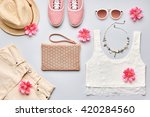 summer street style. fashion... | Shutterstock . vector #420284560