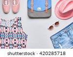 street style fashion dirl...   Shutterstock . vector #420285718