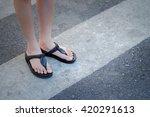 pedestrian across crosswalk on... | Shutterstock . vector #420291613