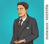 man in a business suit speaks... | Shutterstock . vector #420292906