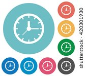 flat clock icon set on round...